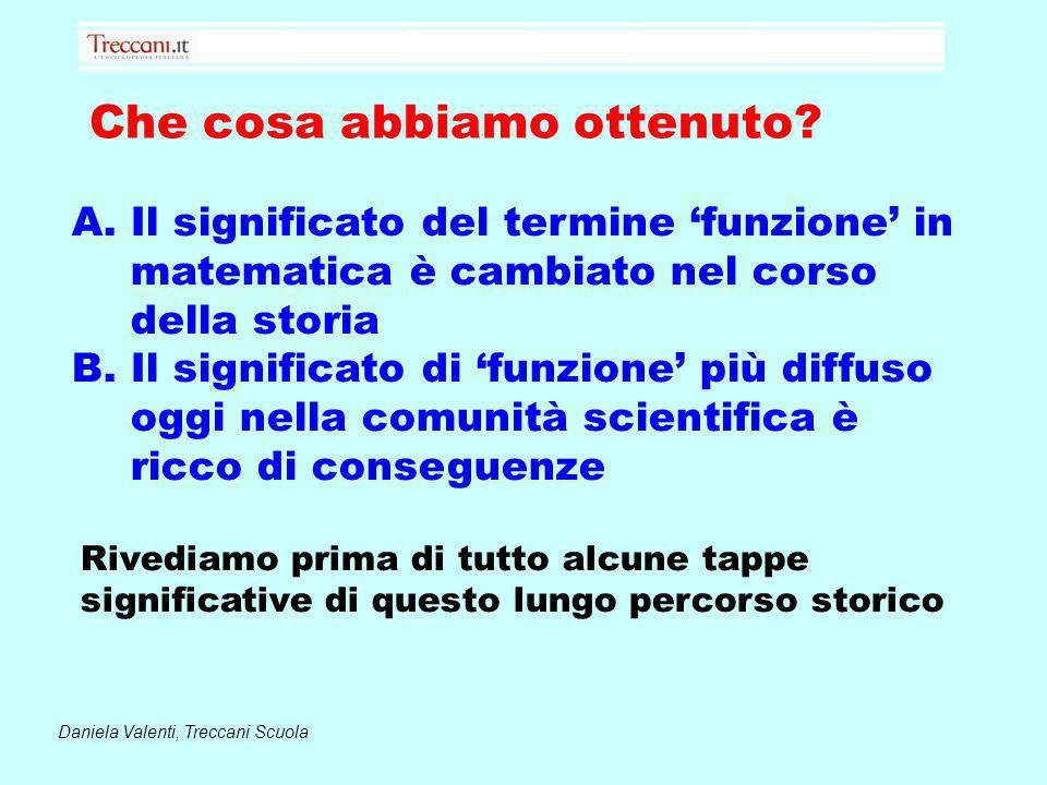 Che cosa abbiamo ottenuto? Daniela Valenti, Treccani Scuola A.Il significato del termine funzione in matematica è cambiato nel corso della storia B.Il