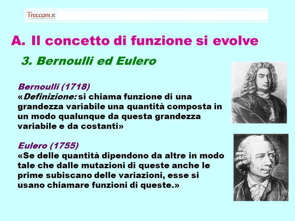 A. Il concetto di funzione si evolve 3. Bernoulli ed Eulero Bernoulli (1718) «Definizione: si chiama funzione di una grandezza variabile una quantità