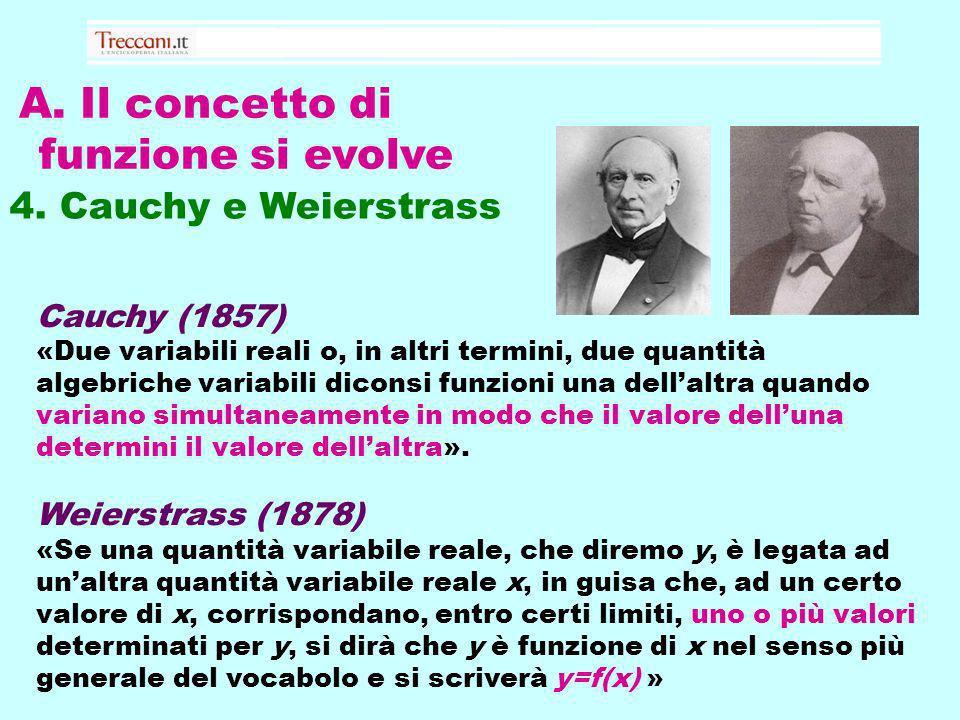 A. Il concetto di funzione si evolve 4. Cauchy e Weierstrass Cauchy (1857) «Due variabili reali o, in altri termini, due quantità algebriche variabili