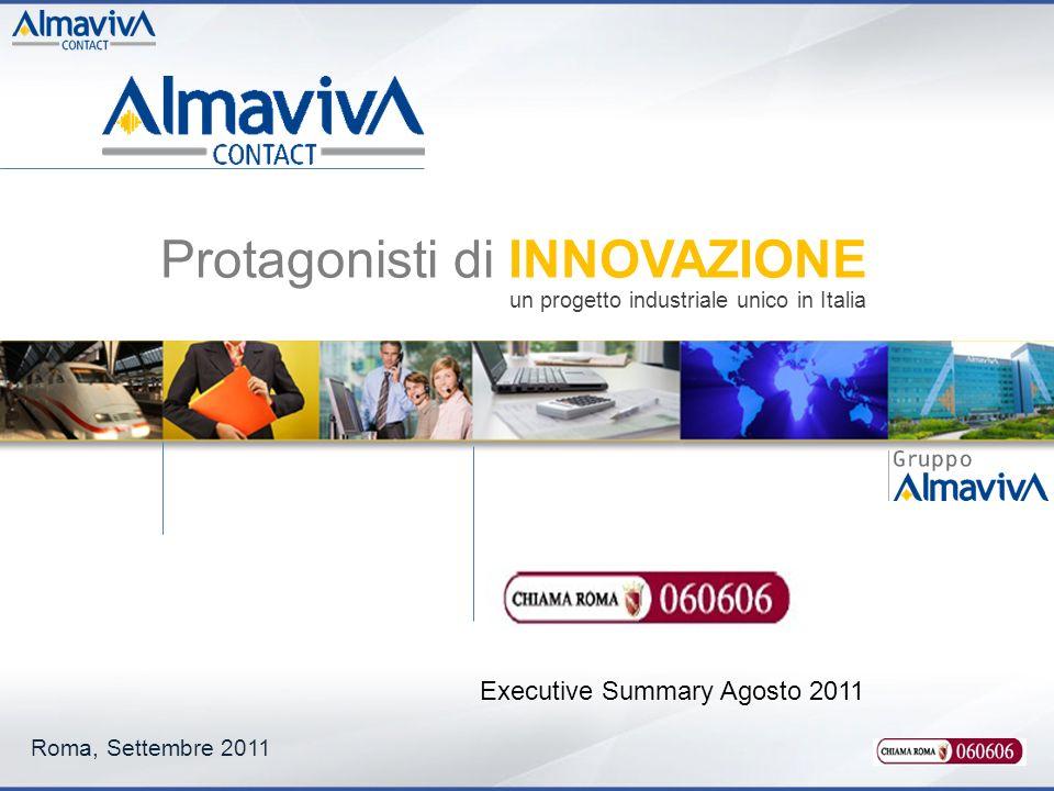 Roma, Settembre 2011 Executive Summary Agosto 2011 Protagonisti di INNOVAZIONE un progetto industriale unico in Italia