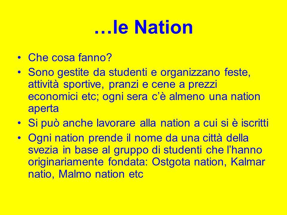 …le Nation Che cosa fanno? Sono gestite da studenti e organizzano feste, attività sportive, pranzi e cene a prezzi economici etc; ogni sera cè almeno