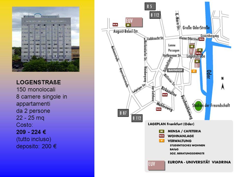 LOGENSTRAßE 150 monolocali 8 camere singole in appartamenti da 2 persone 22 - 25 mq Costo: 209 - 224 (tutto incluso) deposito: 200
