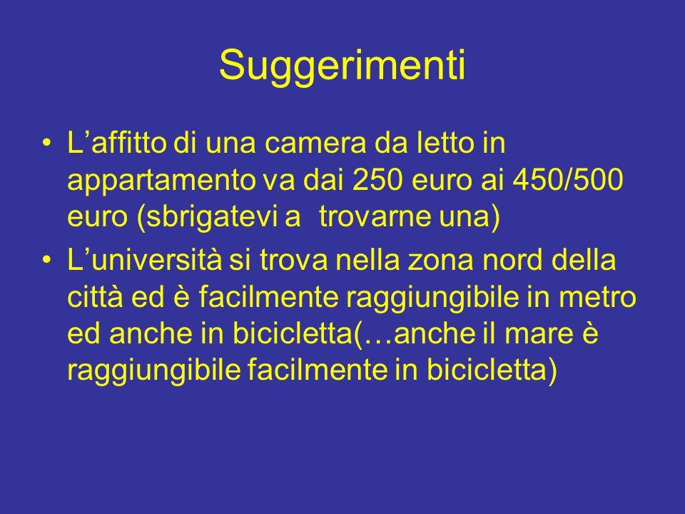 Suggerimenti Laffitto di una camera da letto in appartamento va dai 250 euro ai 450/500 euro (sbrigatevi a trovarne una) Luniversità si trova nella zona nord della città ed è facilmente raggiungibile in metro ed anche in bicicletta(…anche il mare è raggiungibile facilmente in bicicletta)