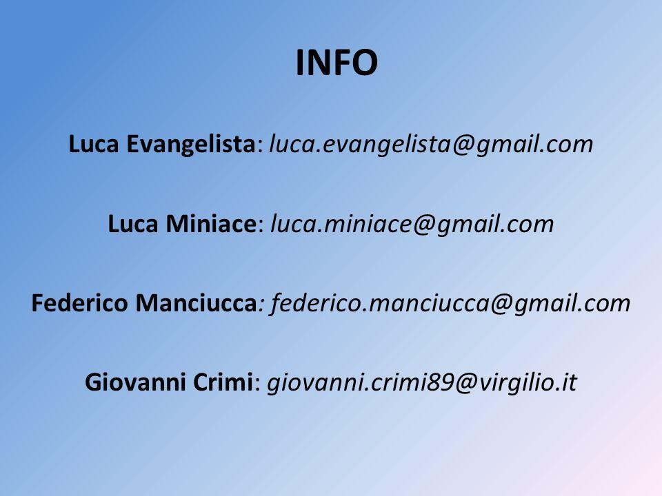 INFO Luca Evangelista: luca.evangelista@gmail.com Luca Miniace: luca.miniace@gmail.com Federico Manciucca: federico.manciucca@gmail.com Giovanni Crimi: giovanni.crimi89@virgilio.it