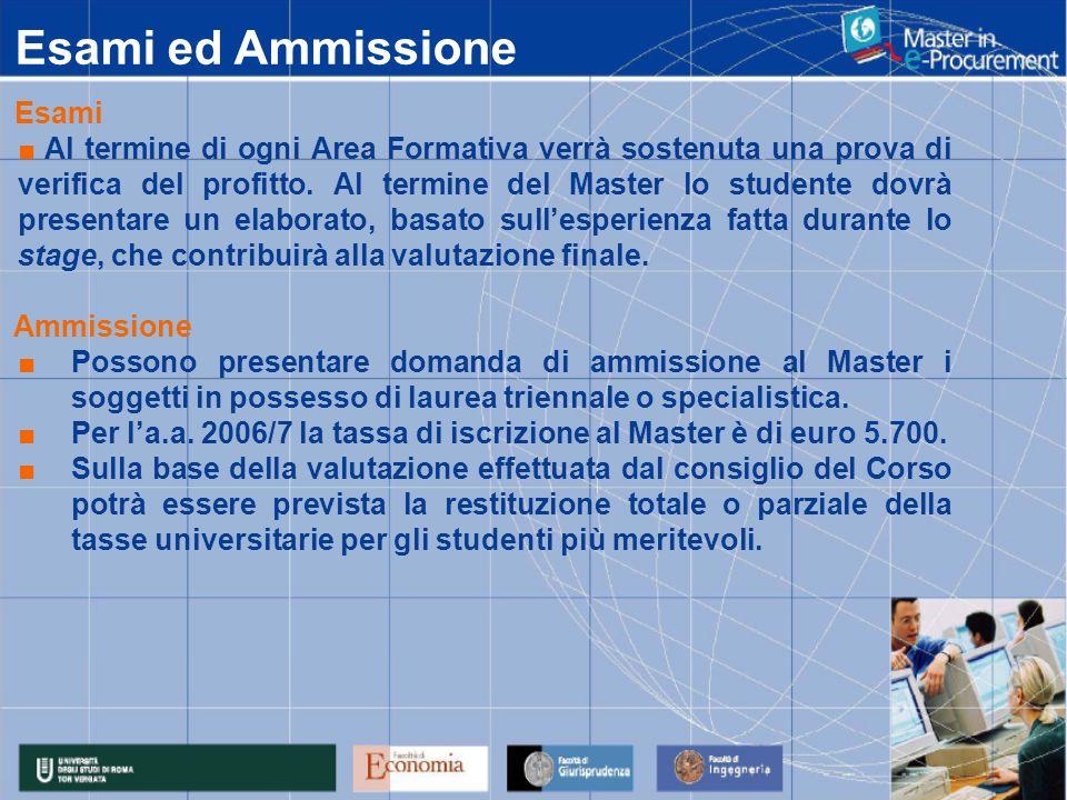 Esami ed Ammissione Esami Al termine di ogni Area Formativa verrà sostenuta una prova di verifica del profitto.