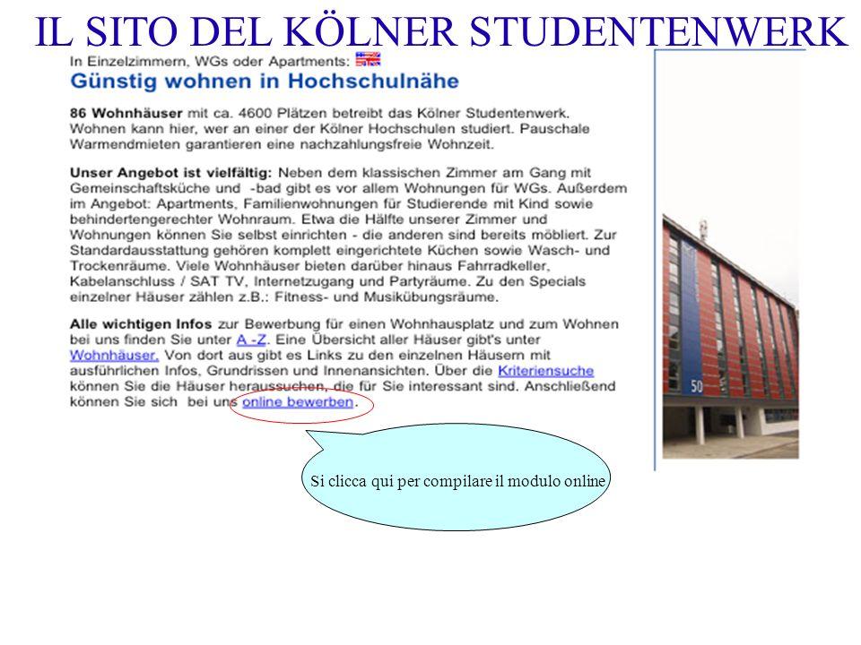 Si clicca qui per compilare il modulo online IL SITO DEL KÖLNER STUDENTENWERK
