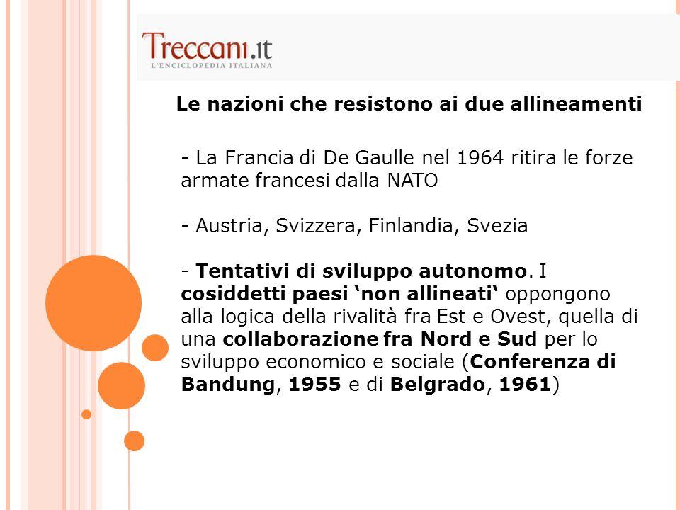 - La Francia di De Gaulle nel 1964 ritira le forze armate francesi dalla NATO - Austria, Svizzera, Finlandia, Svezia - Tentativi di sviluppo autonomo.