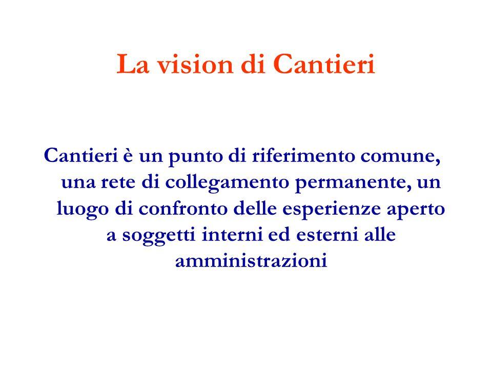 La vision di Cantieri Cantieri è un punto di riferimento comune, una rete di collegamento permanente, un luogo di confronto delle esperienze aperto a soggetti interni ed esterni alle amministrazioni