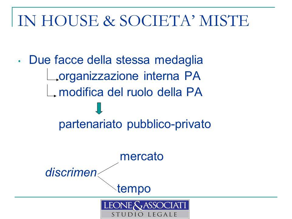 IN HOUSE & SOCIETA MISTE Due facce della stessa medaglia organizzazione interna PA modifica del ruolo della PA partenariato pubblico-privato mercato discrimen tempo