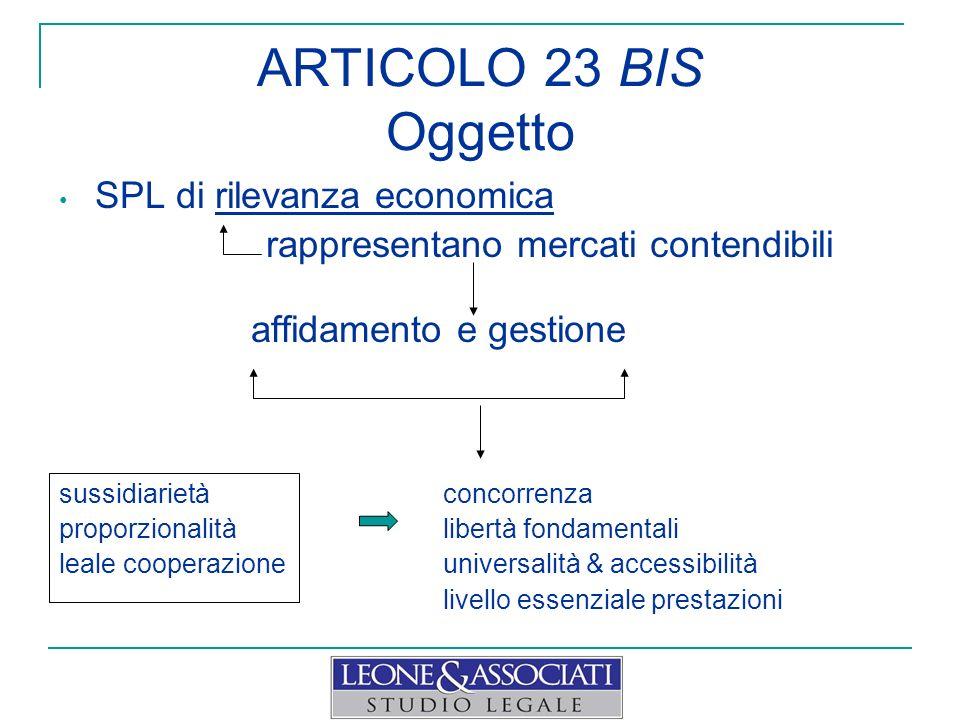 ARTICOLO 23 BIS Oggetto SPL di rilevanza economica rappresentano mercati contendibili affidamento e gestione sussidiarietà concorrenza proporzionalitàlibertà fondamentali leale cooperazioneuniversalità & accessibilità livello essenziale prestazioni