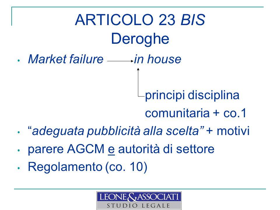 ARTICOLO 23 BIS Deroghe Market failure in house principi disciplina comunitaria + co.1 adeguata pubblicità alla scelta + motivi parere AGCM e autorità
