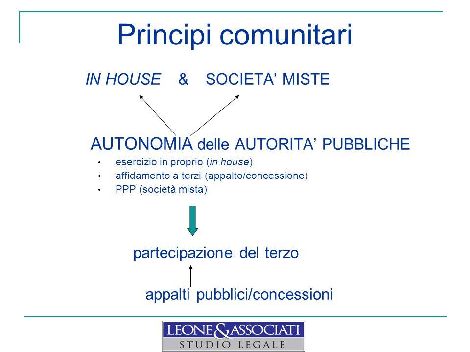 Principi comunitari IN HOUSE & SOCIETA MISTE AUTONOMIA delle AUTORITA PUBBLICHE esercizio in proprio (in house) affidamento a terzi (appalto/concessio
