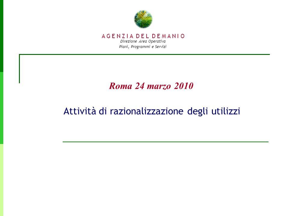 A G E N Z I A D E L D E M A N I O Direzione Area Operativa Piani, Programmi e Servizi Roma 24 marzo 2010 Attività di razionalizzazione degli utilizzi