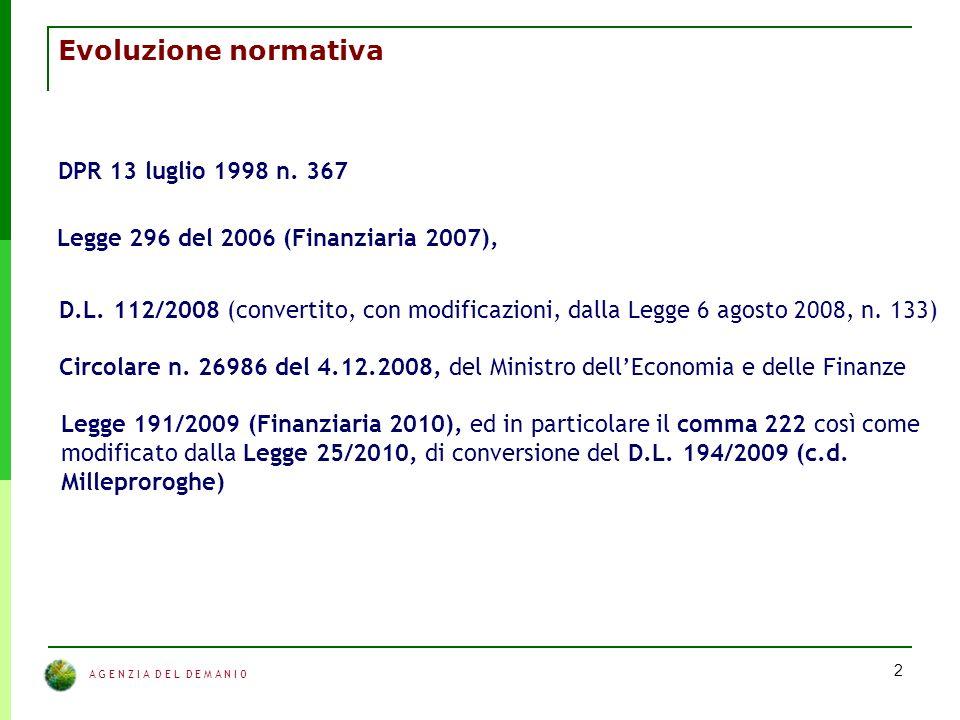 A G E N Z I A D E L D E M A N I O 2 Evoluzione normativa DPR 13 luglio 1998 n.