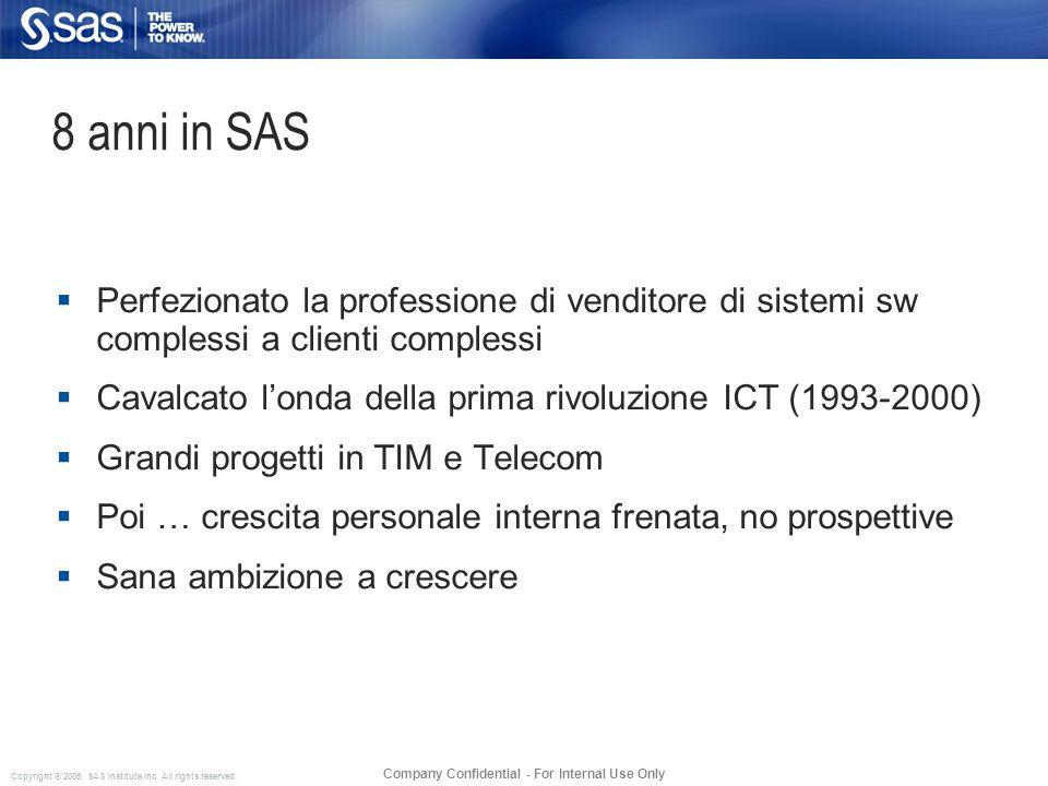 Copyright © 2009, SAS Institute Inc. All rights reserved. Company Confidential - For Internal Use Only 8 anni in SAS Perfezionato la professione di ve