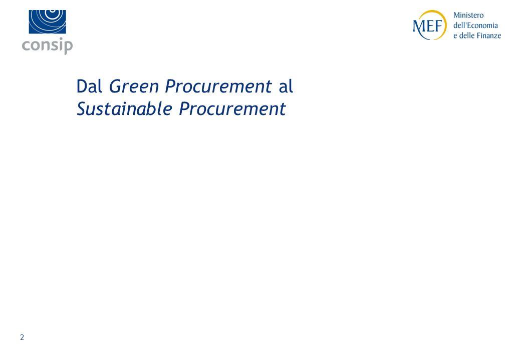 1 La Commissione Europea definisce il GPP come: Che cosa è il Green Public Procurement Lapproccio in base al quale le Amministrazioni Pubbliche integrano i criteri ambientali in tutte le fasi del processo di acquisto, incoraggiando la diffusione di tecnologie ambientali e lo sviluppo di prodotti validi sotto il profilo ambientale, attraverso la ricerca e la scelta dei risultati e delle soluzioni che hanno il minore impatto possibile sullambiente, lungo lintero ciclo di vita.