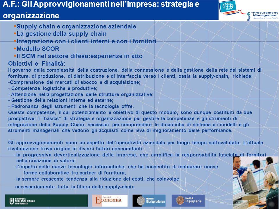 A.F.: Gli Approvvigionamenti nellImpresa: strategia e organizzazione Supply chain e organizzazione aziendale La gestione della supply chain Integrazio