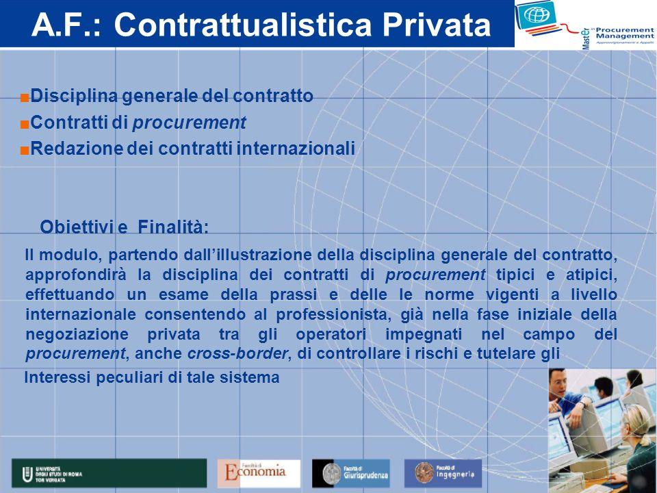 A.F.: Contrattualistica Privata Disciplina generale del contratto Contratti di procurement Redazione dei contratti internazionali Obiettivi e Finalità