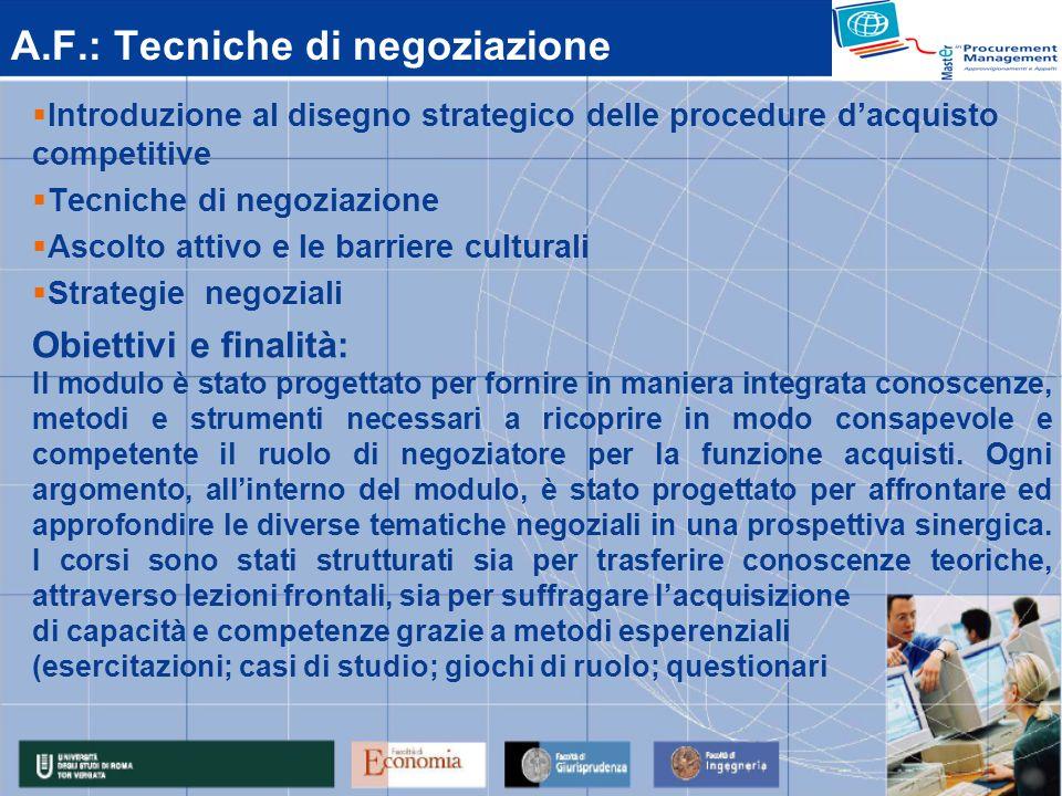 A.F.: Tecniche di negoziazione Introduzione al disegno strategico delle procedure dacquisto competitive Tecniche di negoziazione Ascolto attivo e le b