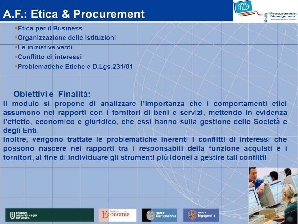 A.F.: Etica & Procurement Etica per il Business Organizzazione delle Istituzioni Le iniziative verdi Conflitto di interessi Problematiche Etiche e D.L