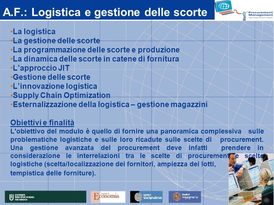 A.F.: Logistica e gestione delle scorte La logistica La gestione delle scorte La programmazione delle scorte e produzione La dinamica delle scorte in