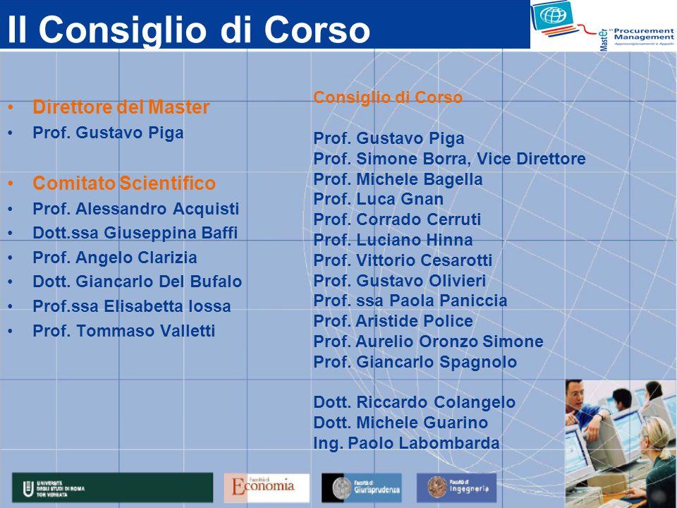Il Consiglio di Corso Direttore del Master Prof. Gustavo Piga Comitato Scientifico Prof. Alessandro Acquisti Dott.ssa Giuseppina Baffi Prof. Angelo Cl
