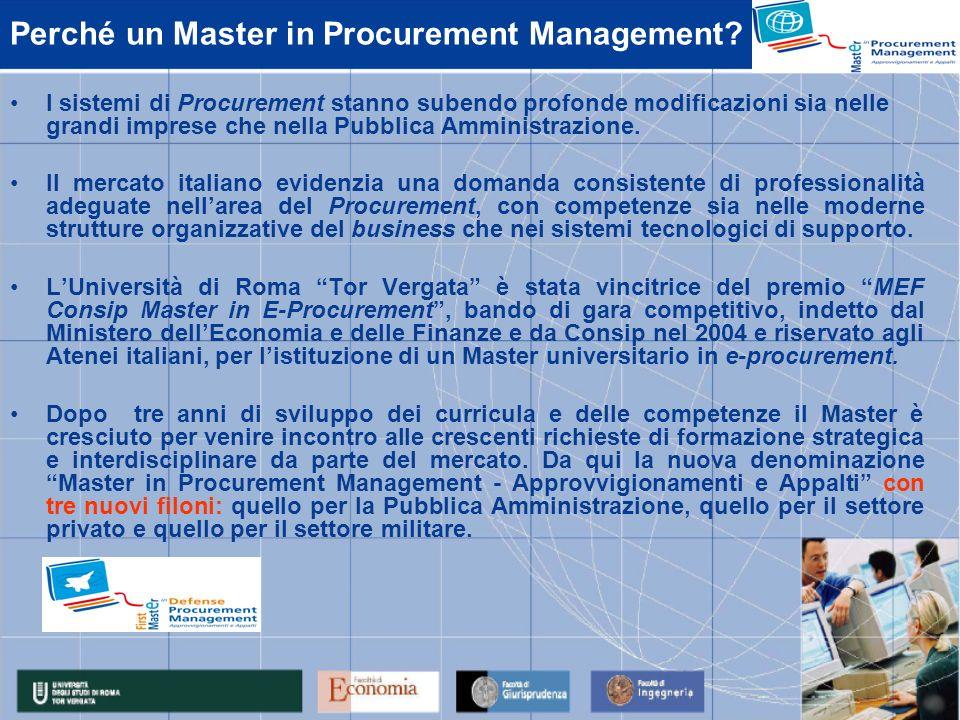 Perché un Master in Procurement Management? I sistemi di Procurement stanno subendo profonde modificazioni sia nelle grandi imprese che nella Pubblica