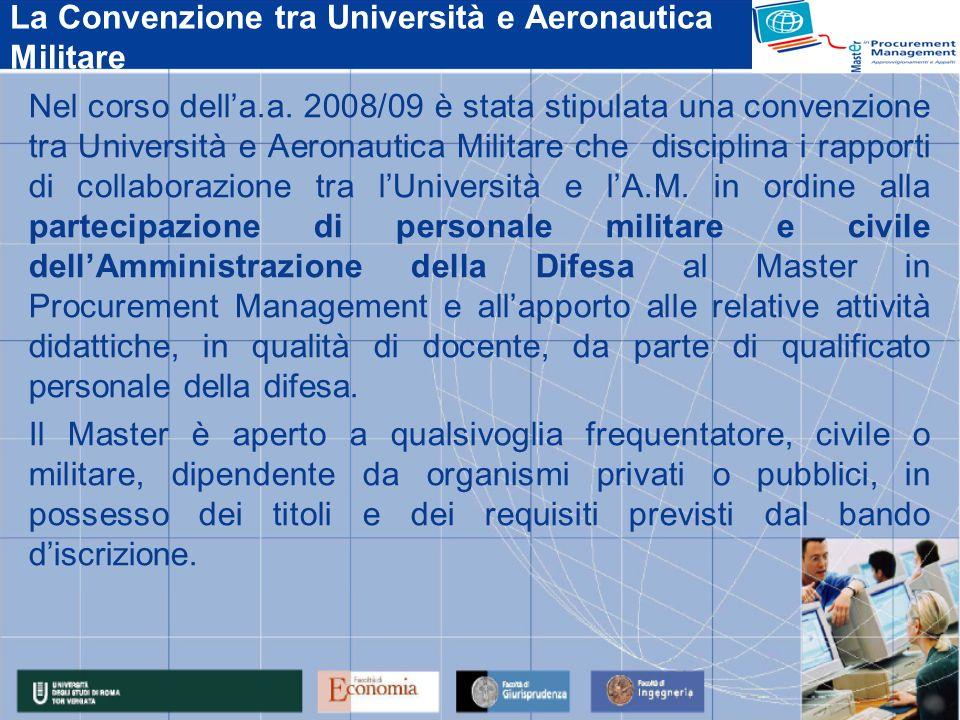 La Convenzione tra Università e Aeronautica Militare Nel corso della.a. 2008/09 è stata stipulata una convenzione tra Università e Aeronautica Militar