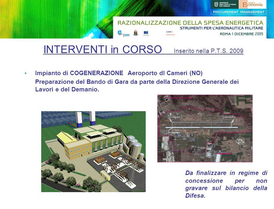 Impianto di COGENERAZIONE Aeroporto dI Cameri (NO) Preparazione del Bando di Gara da parte della Direzione Generale dei Lavori e del Demanio. Da final