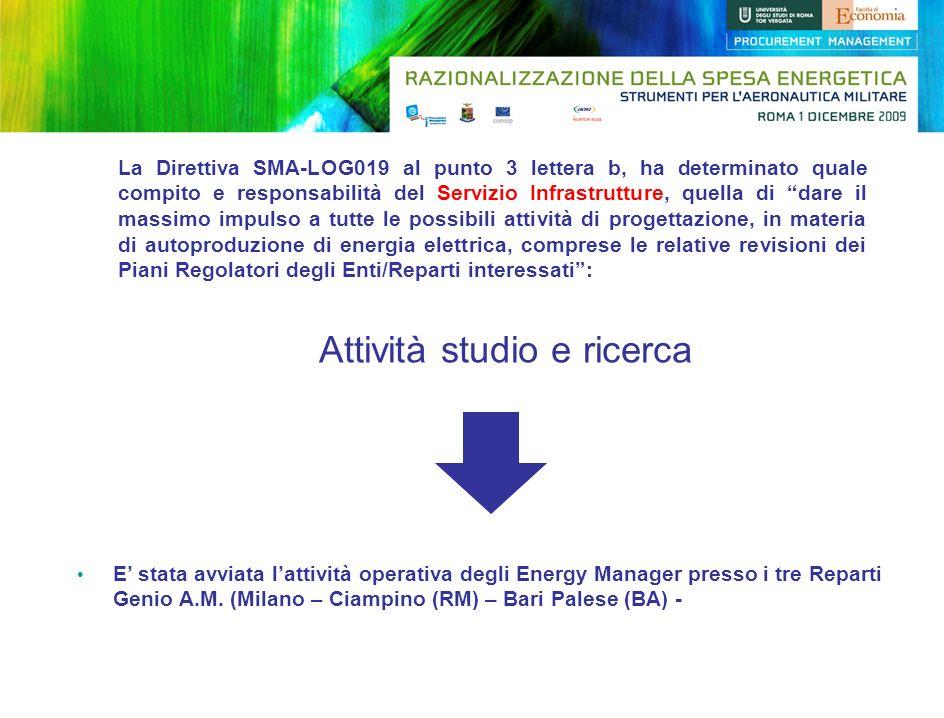 La Direttiva SMA-LOG019 al punto 3 lettera b, ha determinato quale compito e responsabilità del Servizio Infrastrutture, quella di dare il massimo imp