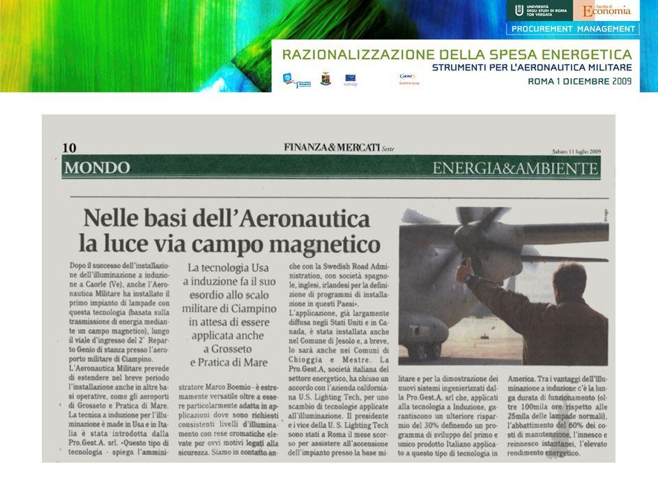 Auditing Energetico commissionato allUniversità la Sapienza di Roma presso laeroporto di Centocelle.