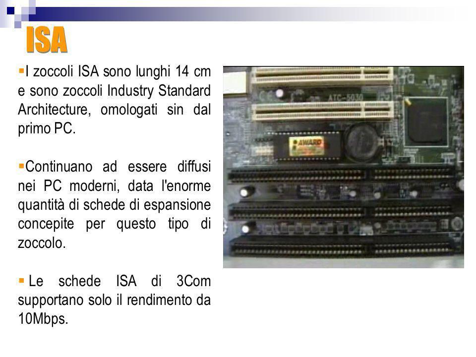 ISA I zoccoli ISA sono lunghi 14 cm e sono zoccoli Industry Standard Architecture, omologati sin dal primo PC.