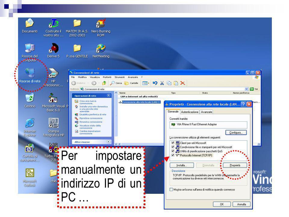 Per impostare manualmente un indirizzo IP di un PC …