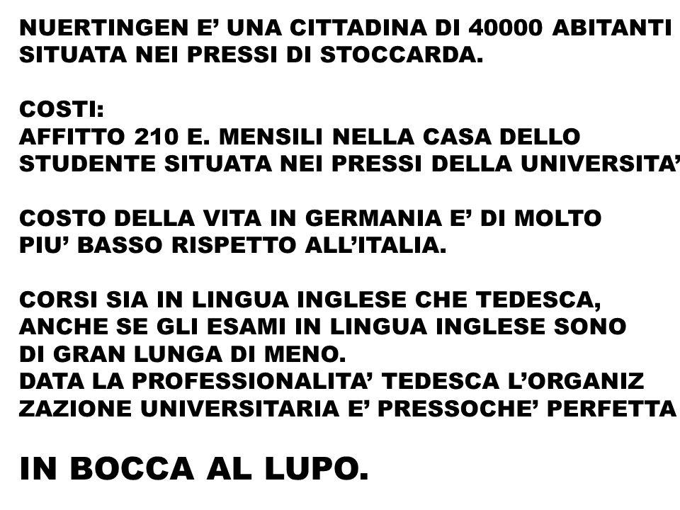 NUERTINGEN E UNA CITTADINA DI 40000 ABITANTI SITUATA NEI PRESSI DI STOCCARDA.