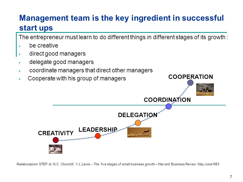 7 Management team is the key ingredient in successful start ups Rielaborazioni STEP di: N.C. Churchill, V.L.Lewis – The five stages of small business