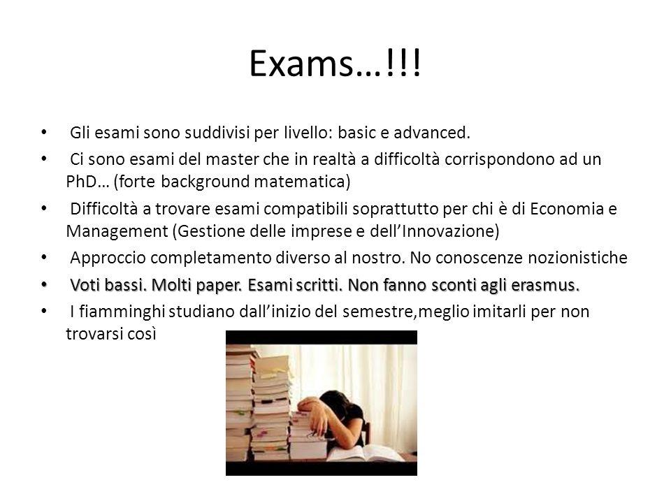 Exams…!!! Gli esami sono suddivisi per livello: basic e advanced. Ci sono esami del master che in realtà a difficoltà corrispondono ad un PhD… (forte