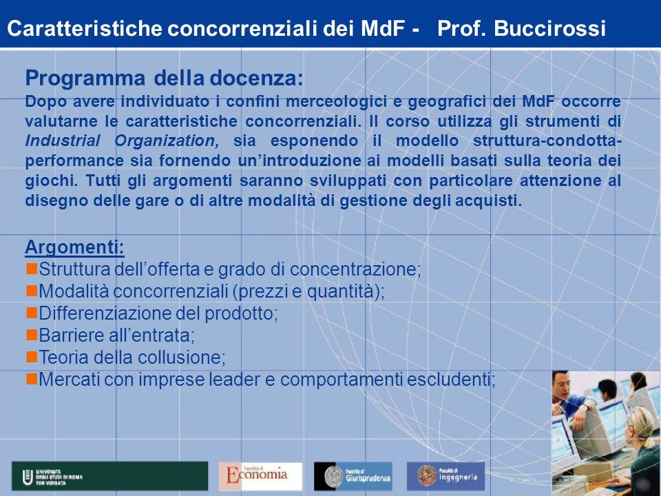 Caratteristiche concorrenziali dei MdF - Prof.
