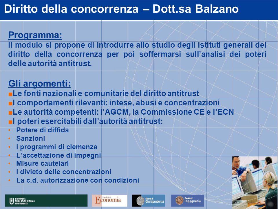 Diritto della concorrenza – Dott.sa Balzano Programma: Il modulo si propone di introdurre allo studio degli istituti generali del diritto della concorrenza per poi soffermarsi sullanalisi dei poteri delle autorità antitrust.