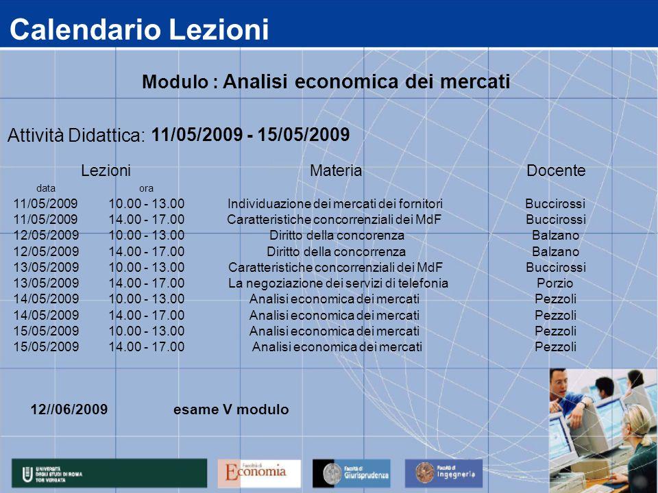 Calendario Lezioni data 11/05/2009 12/05/2009 13/05/2009 14/05/2009 15/05/2009 14.00 - 17.00Analisi economica dei mercatiPezzoli 14.00 - 17.00Analisi economica dei mercatiPezzoli 10.00 - 13.00Analisi economica dei mercatiPezzoli 14.00 - 17.00 La negoziazione dei servizi di telefoniaPorzio 10.00 - 13.00Analisi economica dei mercatiPezzoli 14.00 - 17.00Diritto della concorrenzaBalzano 10.00 - 13.00Caratteristiche concorrenziali dei MdFBuccirossi 14.00 - 17.00Caratteristiche concorrenziali dei MdFBuccirossi 10.00 - 13.00Diritto della concorenzaBalzano ora 10.00 - 13.00Individuazione dei mercati dei fornitoriBuccirossi Attività Didattica: 11/05/2009 - 15/05/2009 LezioniMateriaDocente Modulo : Analisi economica dei mercati 12//06/2009 esame V modulo