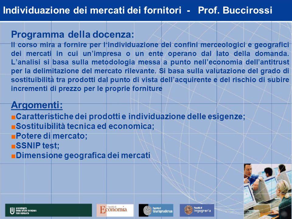 Individuazione dei mercati dei fornitori - Prof.