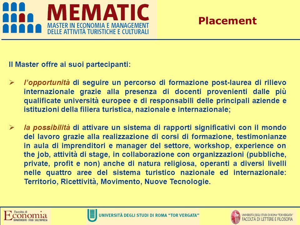 Il Master offre ai suoi partecipanti: lopportunità di seguire un percorso di formazione post-laurea di rilievo internazionale grazie alla presenza di