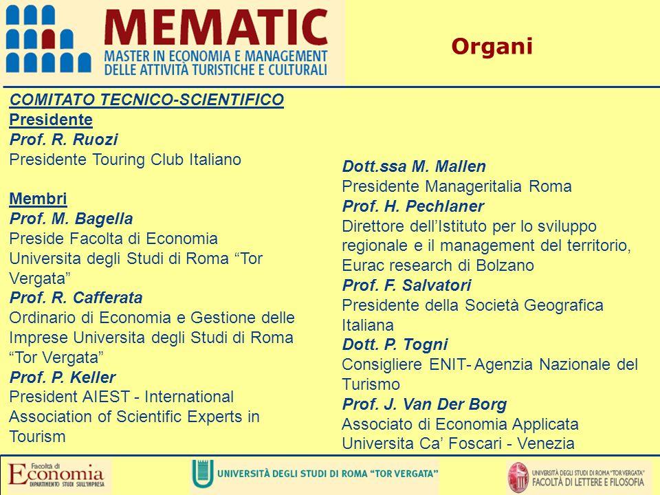 Organi COMITATO TECNICO-SCIENTIFICO Presidente Prof. R. Ruozi Presidente Touring Club Italiano Membri Prof. M. Bagella Preside Facolta di Economia Uni