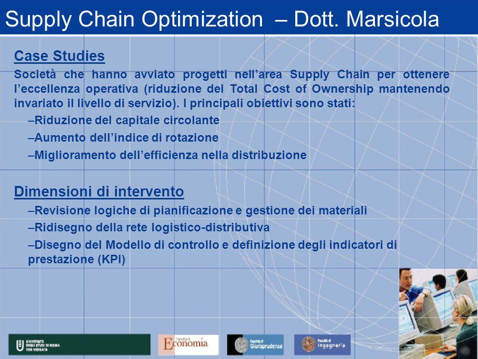 Supply Chain Optimization – Dott. Marsicola Case Studies Società che hanno avviato progetti nellarea Supply Chain per ottenere leccellenza operativa (