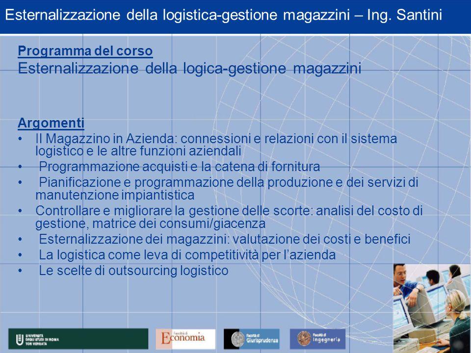 Esternalizzazione della logistica-gestione magazzini – Ing. Santini Programma del corso Esternalizzazione della logica-gestione magazzini Argomenti Il