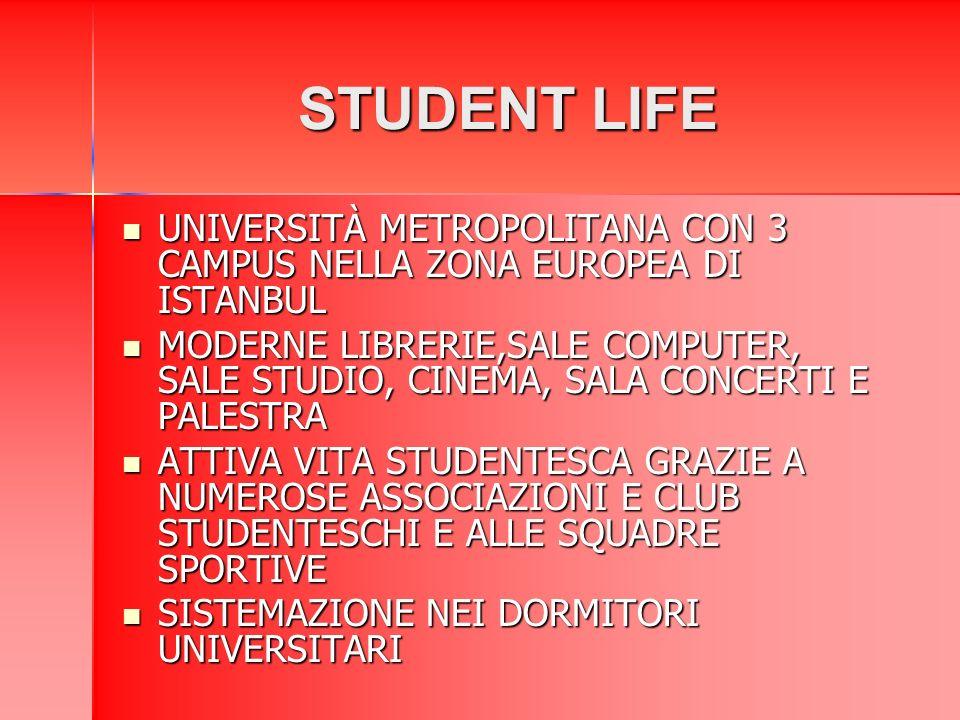 STUDENT LIFE UNIVERSITÀ METROPOLITANA CON 3 CAMPUS NELLA ZONA EUROPEA DI ISTANBUL UNIVERSITÀ METROPOLITANA CON 3 CAMPUS NELLA ZONA EUROPEA DI ISTANBUL MODERNE LIBRERIE,SALE COMPUTER, SALE STUDIO, CINEMA, SALA CONCERTI E PALESTRA MODERNE LIBRERIE,SALE COMPUTER, SALE STUDIO, CINEMA, SALA CONCERTI E PALESTRA ATTIVA VITA STUDENTESCA GRAZIE A NUMEROSE ASSOCIAZIONI E CLUB STUDENTESCHI E ALLE SQUADRE SPORTIVE ATTIVA VITA STUDENTESCA GRAZIE A NUMEROSE ASSOCIAZIONI E CLUB STUDENTESCHI E ALLE SQUADRE SPORTIVE SISTEMAZIONE NEI DORMITORI UNIVERSITARI SISTEMAZIONE NEI DORMITORI UNIVERSITARI