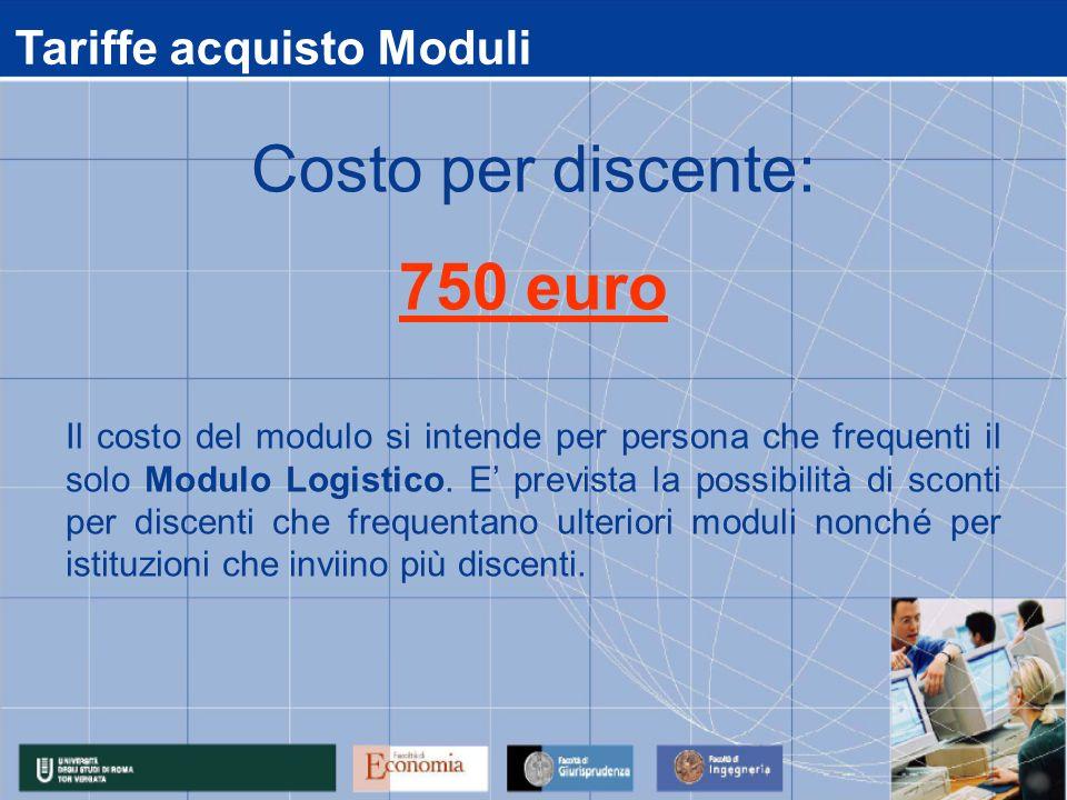Tariffe acquisto Moduli Il costo del modulo si intende per persona che frequenti il solo Modulo Logistico. E prevista la possibilità di sconti per dis