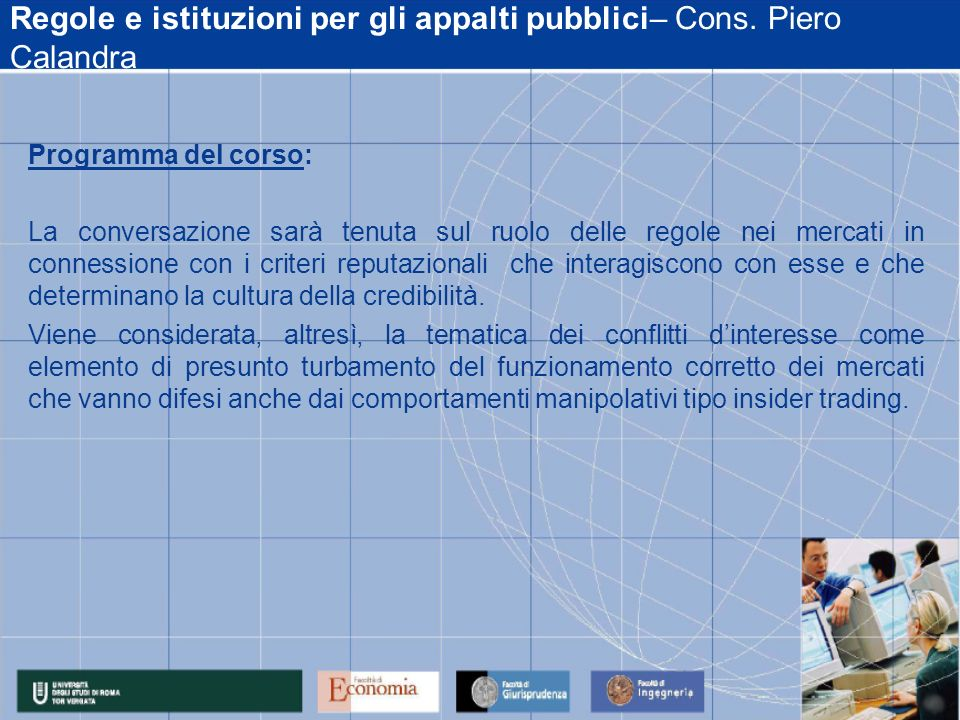 Regole e istituzioni per gli appalti pubblici– Cons.