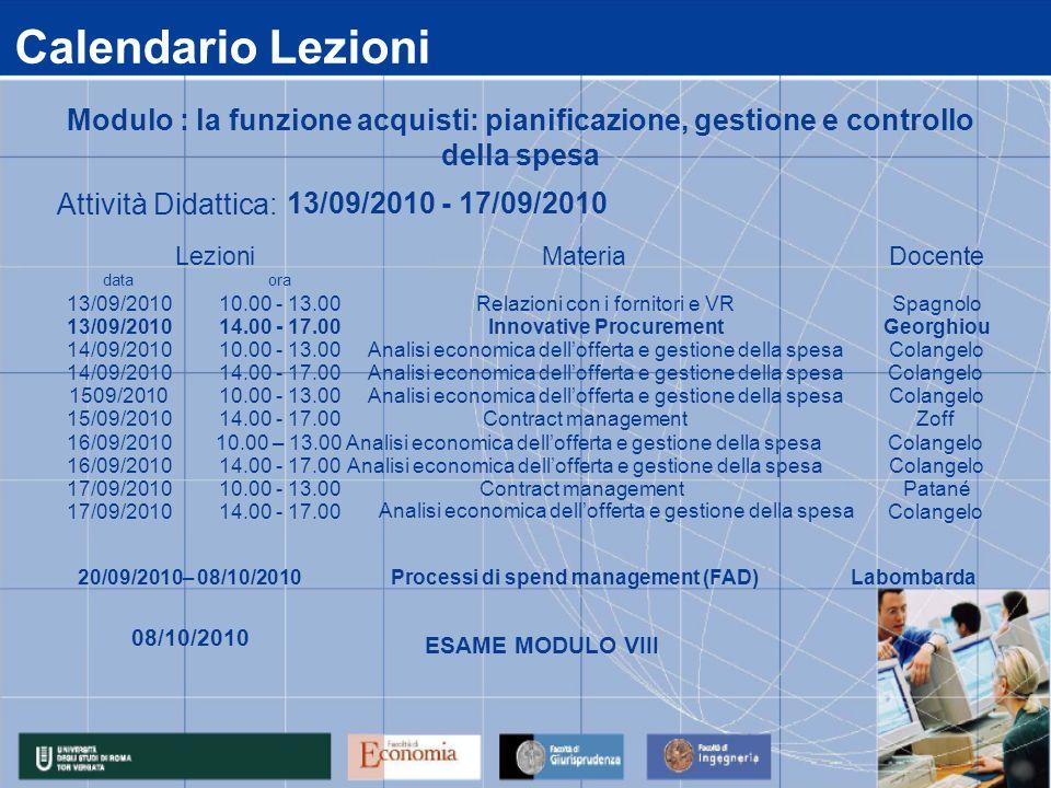 Calendario Lezioni data 13/09/2010 14/09/2010 1509/2010 15/09/2010 16/09/2010 17/09/2010 14.00 - 17.00Colangelo 14.00 - 17.00Analisi economica delloff