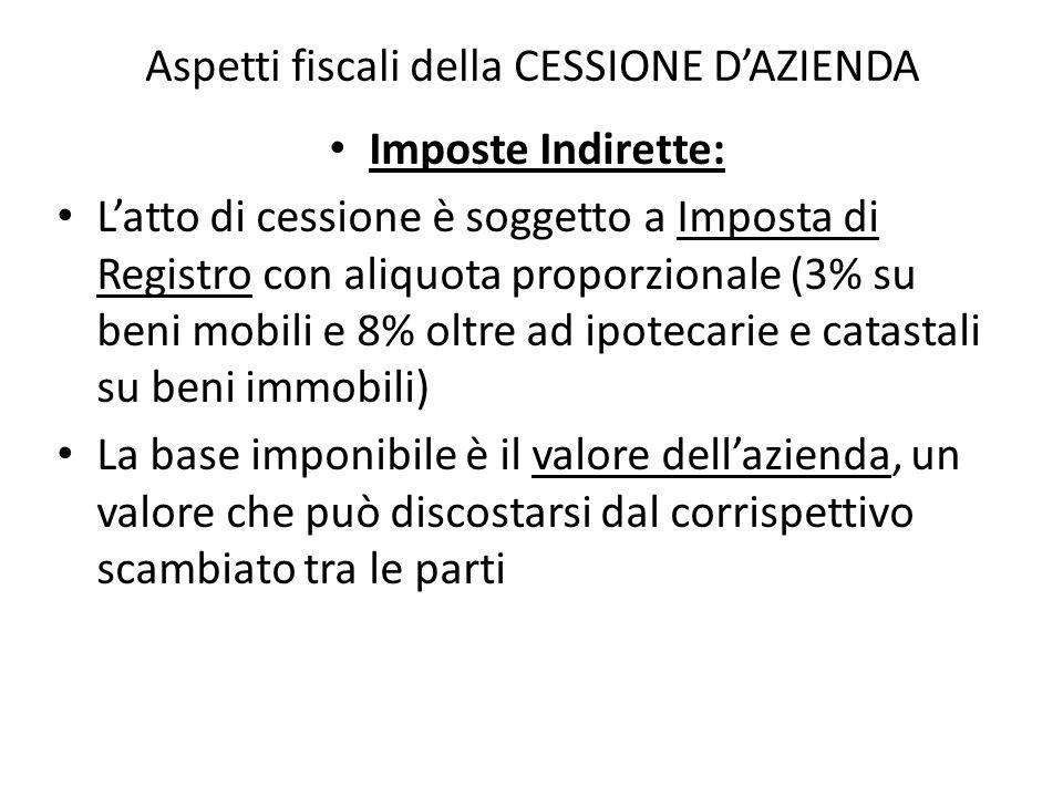 Aspetti fiscali della CESSIONE DAZIENDA Imposte Indirette: Latto di cessione è soggetto a Imposta di Registro con aliquota proporzionale (3% su beni m