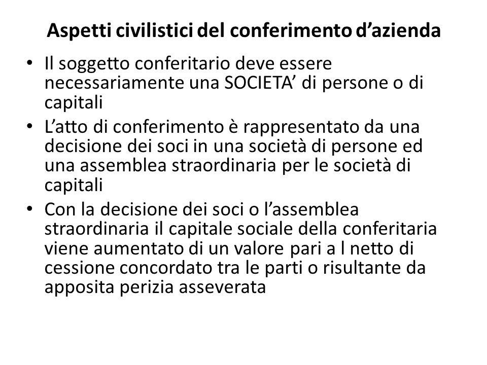 Aspetti civilistici del conferimento dazienda Il soggetto conferitario deve essere necessariamente una SOCIETA di persone o di capitali Latto di confe